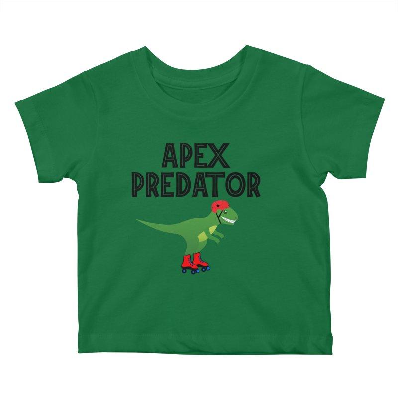Apex Predator T-Rex Roller Derby Jammer Kids Baby T-Shirt by Power Thru the 4th Whistle Roller Derby Podcast