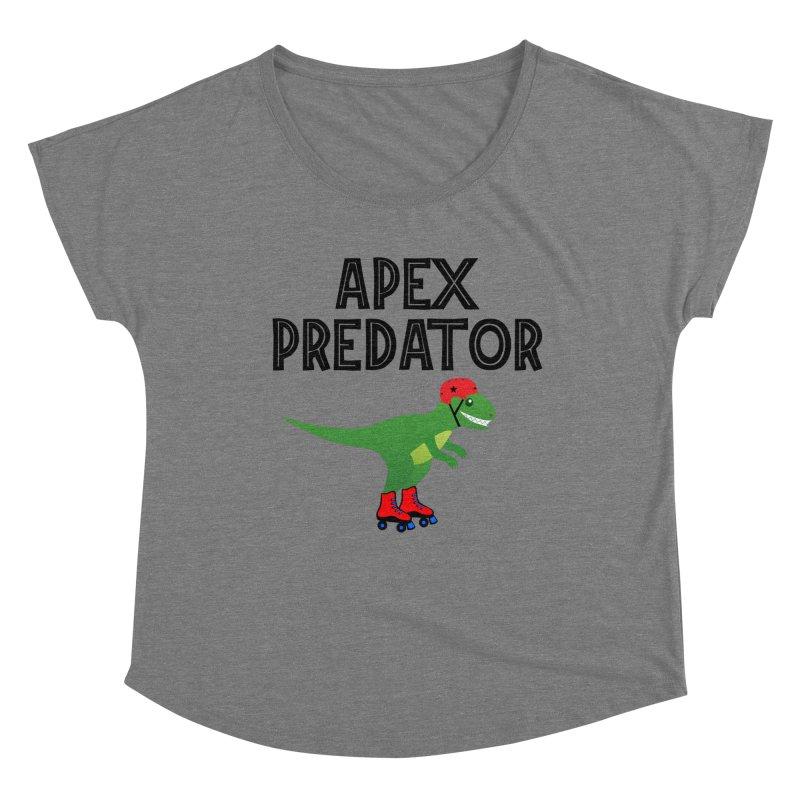 Apex Predator T-Rex Roller Derby Jammer Women's Scoop Neck by Power Thru the 4th Whistle Roller Derby Podcast