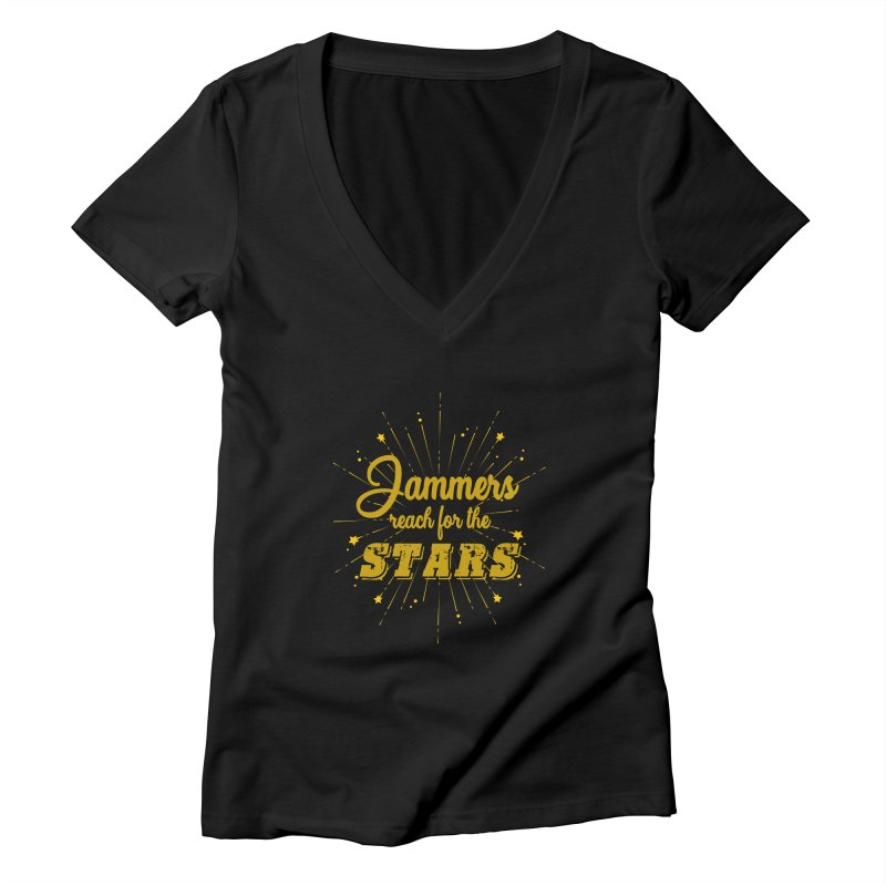 Jammers Reach For the Stars Roller Derby Women's V-Neck by Power Thru the 4th Whistle Roller Derby Podcast