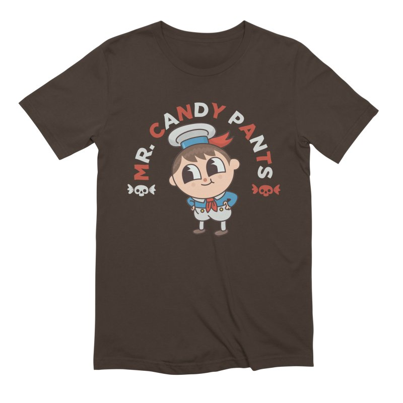Mr Candy Pants in Men's Extra Soft T-Shirt Chocolate by Pepe Rodríguez