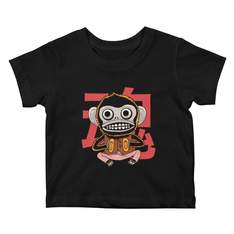 Evil Monkey Kids Baby T-Shirt by Pepe Rodríguez