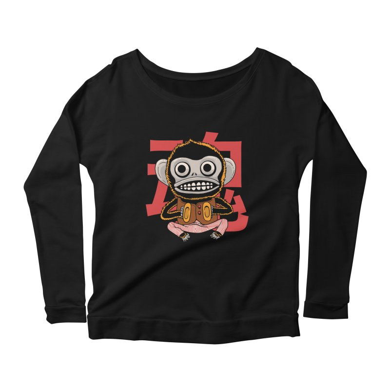 Evil Monkey Women's Scoop Neck Longsleeve T-Shirt by Pepe Rodríguez