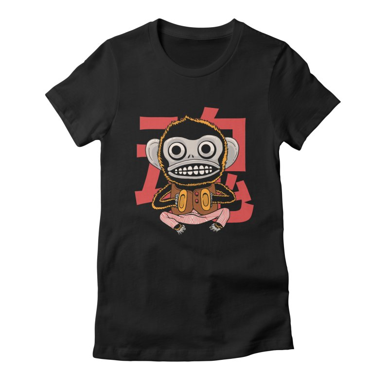 Evil Monkey Women's Fitted T-Shirt by Pepe Rodríguez