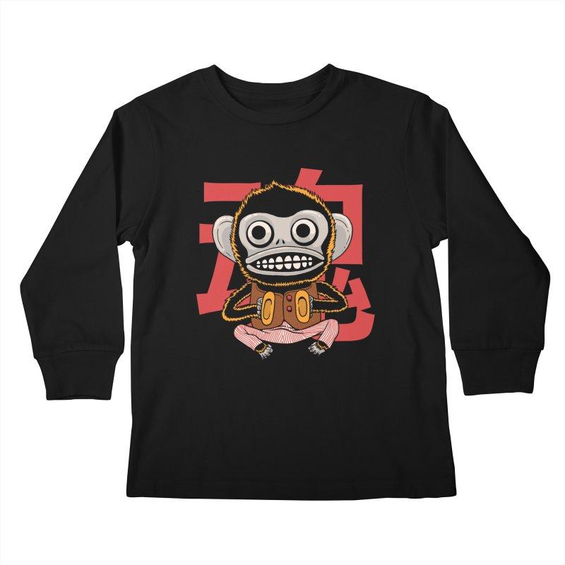 Evil Monkey Kids Longsleeve T-Shirt by Pepe Rodríguez