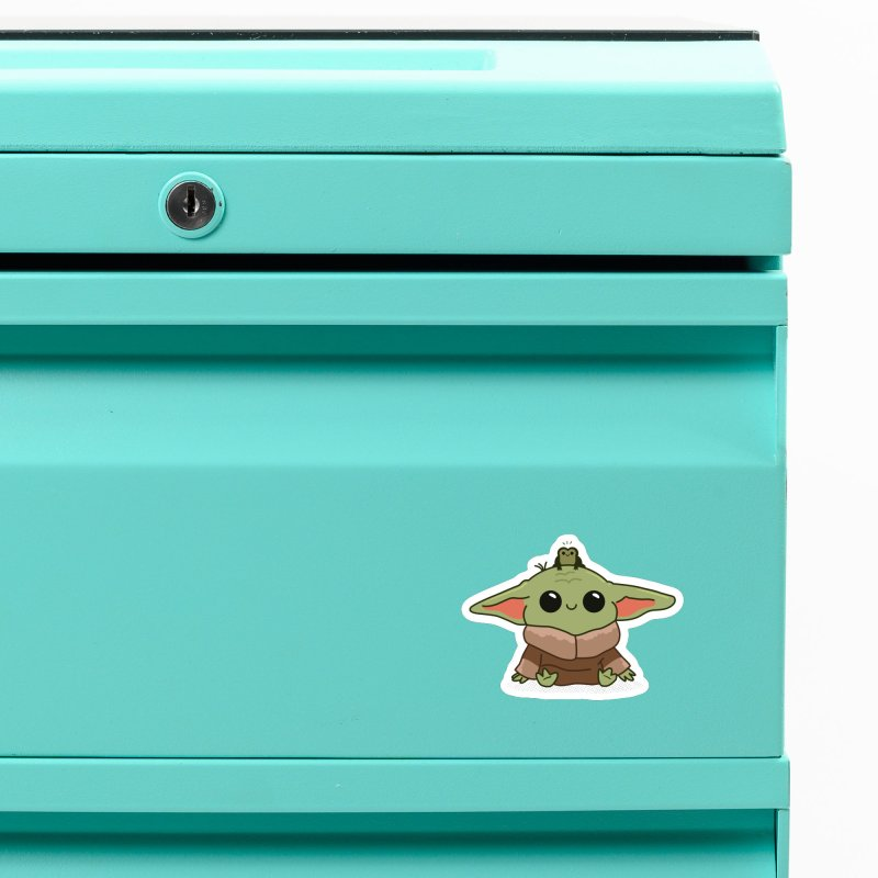 Baby Yoda and Frog Accessories Magnet by Pepe Rodríguez