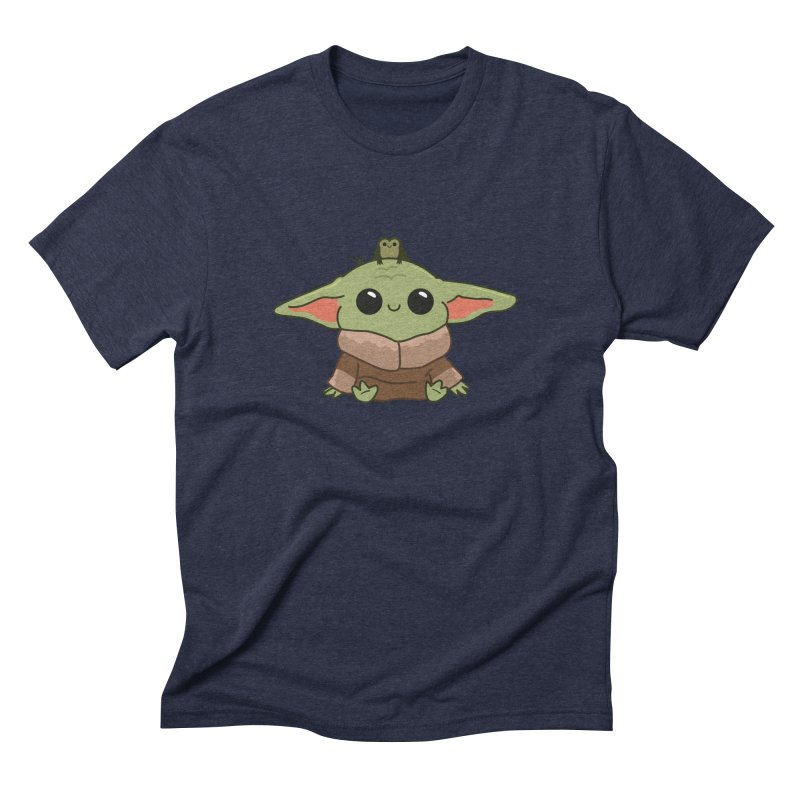 Baby Yoda and Frog Men's Triblend T-Shirt by Pepe Rodríguez