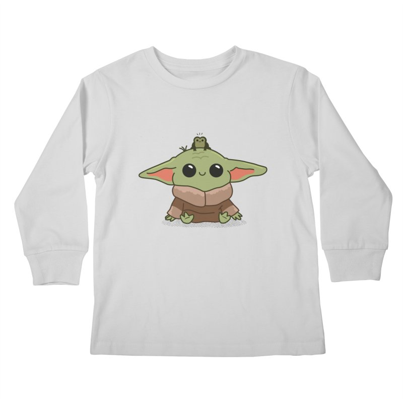 Baby Yoda and Frog Kids Longsleeve T-Shirt by Pepe Rodríguez