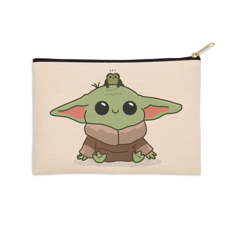 Baby Yoda and Frog Accessories Zip Pouch by Pepe Rodríguez