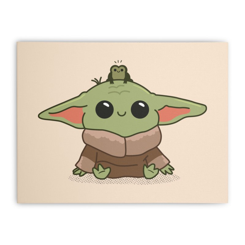 Baby Yoda and Frog Home Stretched Canvas by Pepe Rodríguez