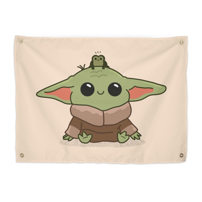 Baby Yoda and Frog Home Tapestry by Pepe Rodríguez