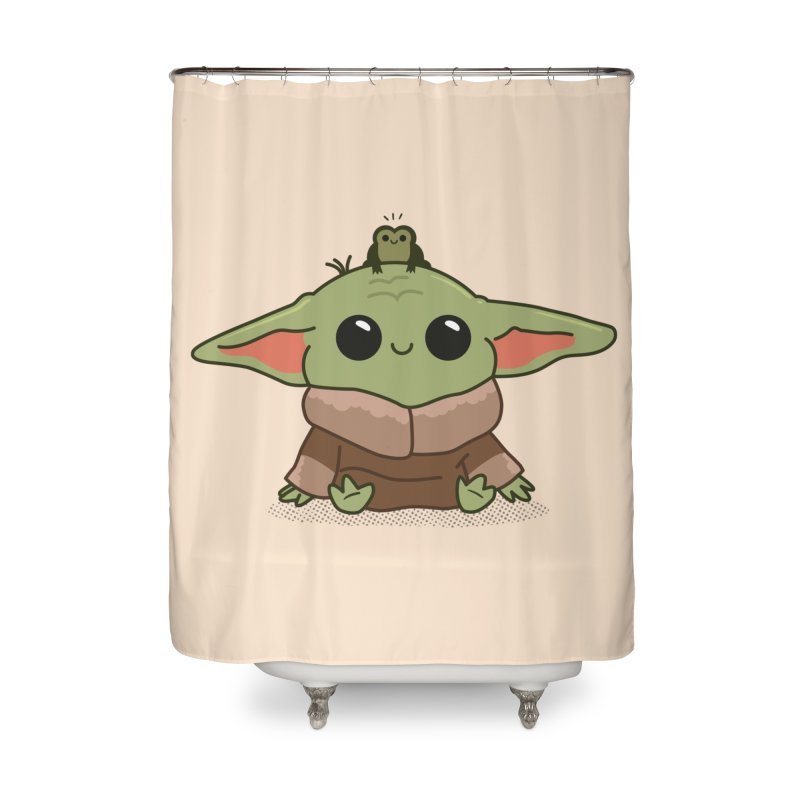 Baby Yoda and Frog Home Shower Curtain by Pepe Rodríguez
