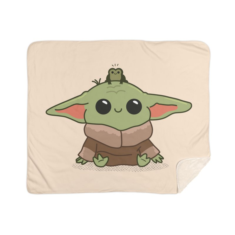 Baby Yoda and Frog Home Sherpa Blanket Blanket by Pepe Rodríguez