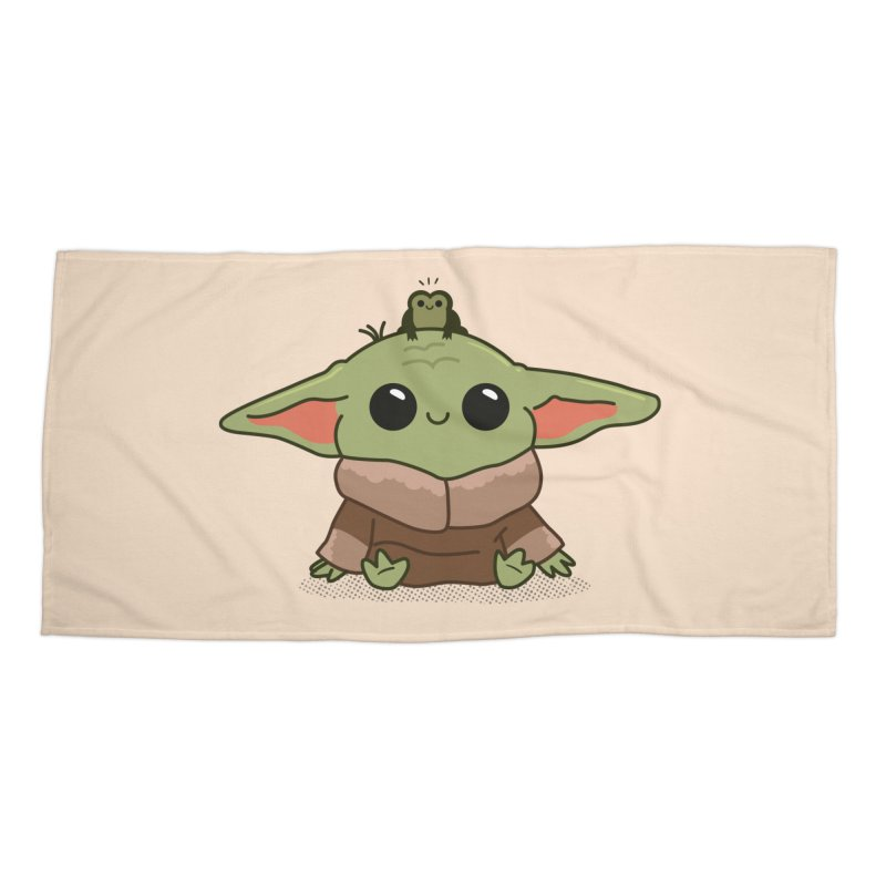 Baby Yoda and Frog Accessories Beach Towel by Pepe Rodríguez