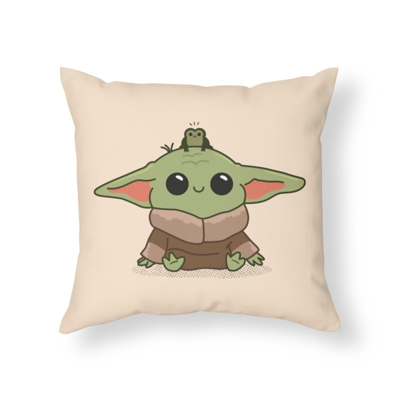Baby Yoda and Frog Home Throw Pillow by Pepe Rodríguez