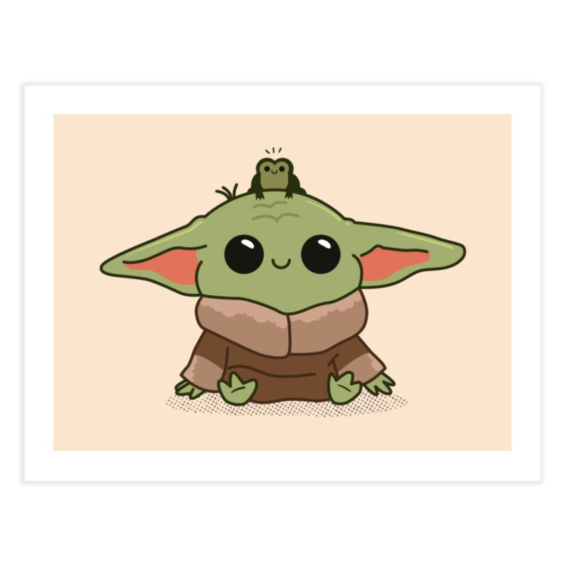 Baby Yoda and Frog Home Fine Art Print by Pepe Rodríguez