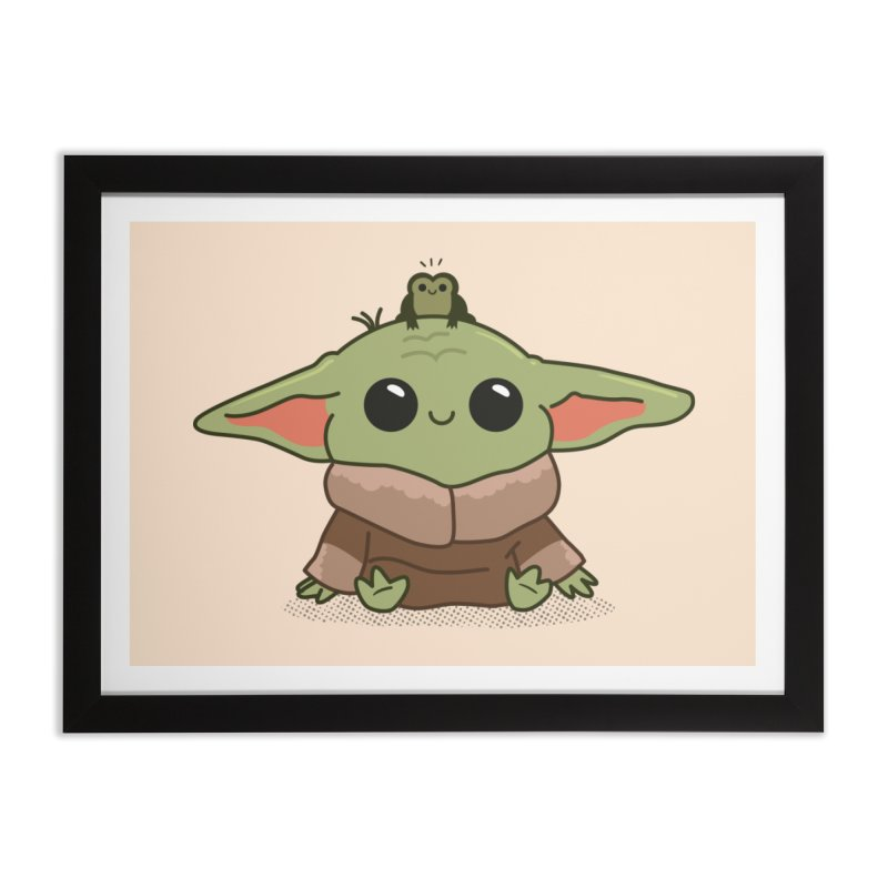 Baby Yoda and Frog Home Framed Fine Art Print by Pepe Rodríguez
