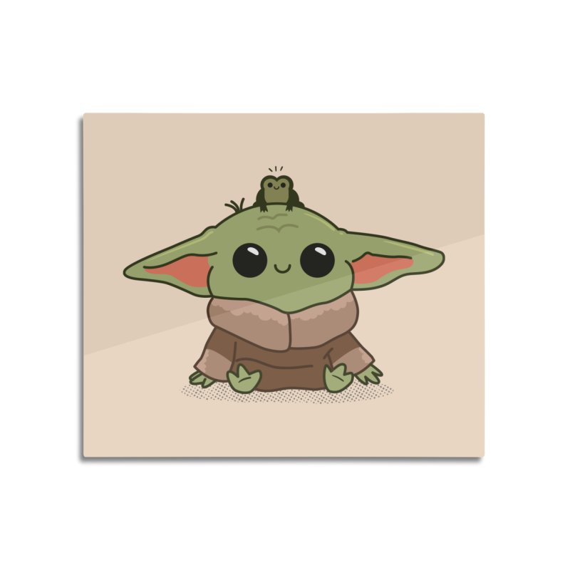 Baby Yoda and Frog Home Mounted Aluminum Print by Pepe Rodríguez