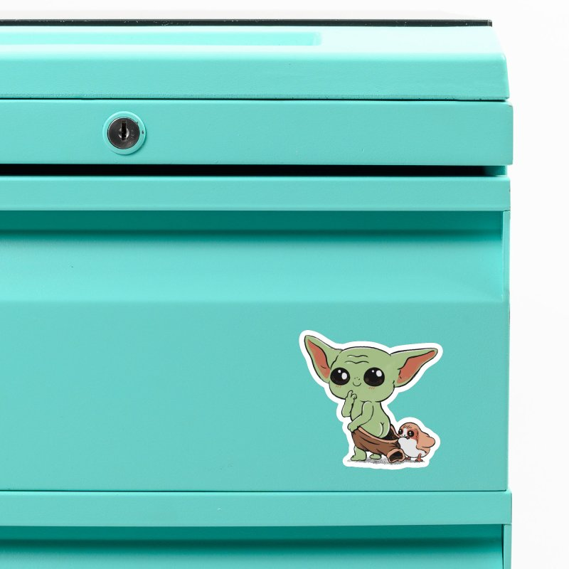 Baby Yoda and Porg Accessories Magnet by Pepe Rodríguez