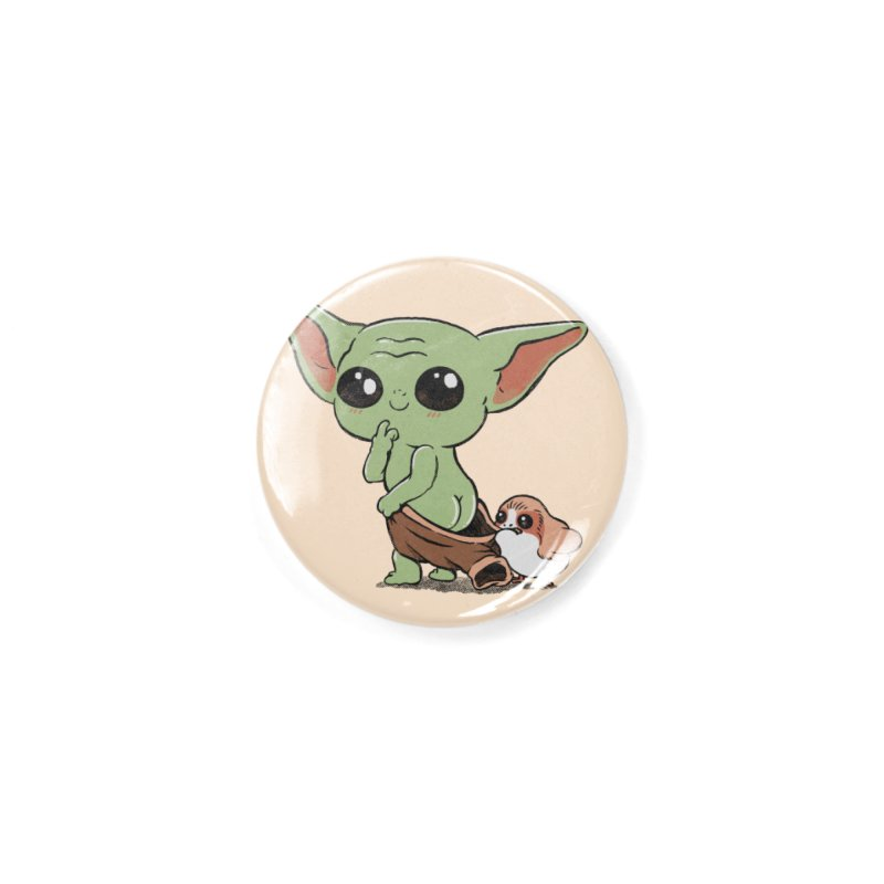 Baby Yoda and Porg Accessories Button by Pepe Rodríguez