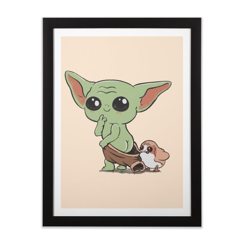 Baby Yoda and Porg Home Framed Fine Art Print by Pepe Rodríguez