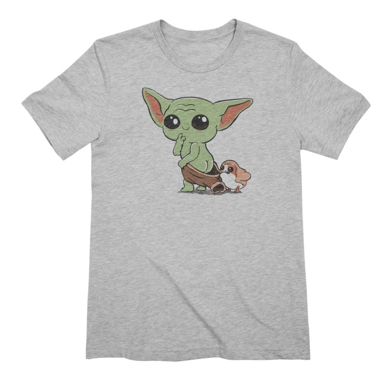 Baby Yoda and Porg Men's Extra Soft T-Shirt by Pepe Rodríguez