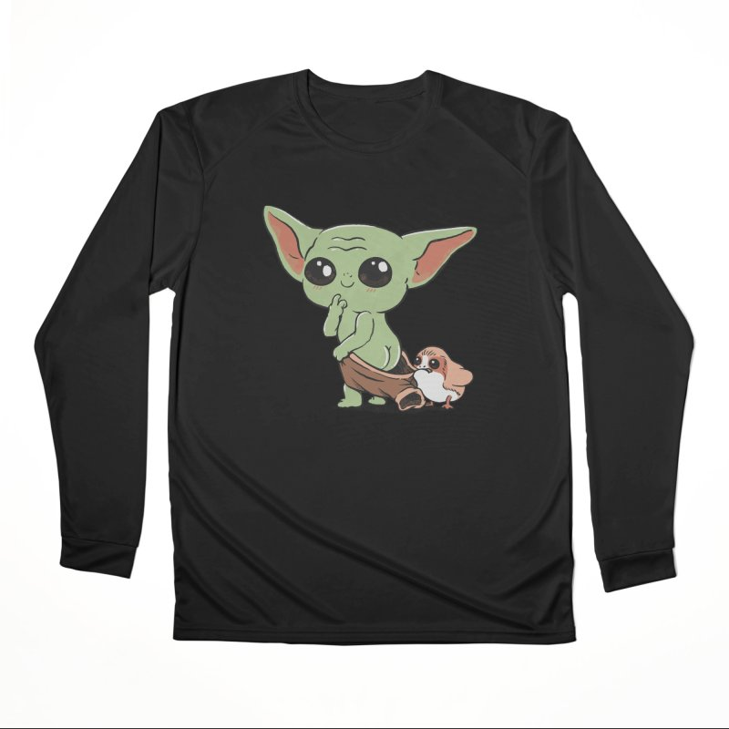Baby Yoda and Porg Women's Performance Unisex Longsleeve T-Shirt by Pepe Rodríguez