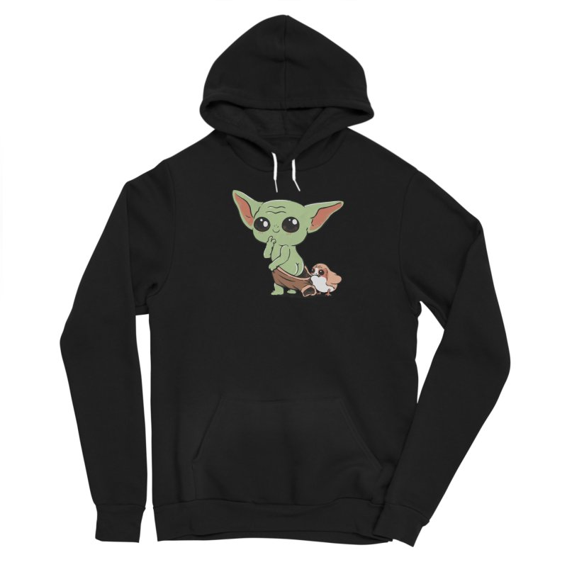 Baby Yoda and Porg Women's Sponge Fleece Pullover Hoody by Pepe Rodríguez