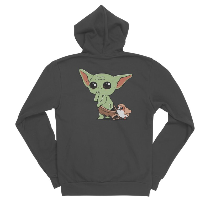 Baby Yoda and Porg Men's Sponge Fleece Zip-Up Hoody by Pepe Rodríguez