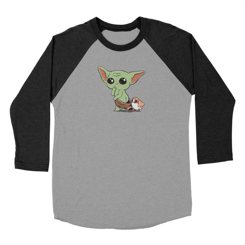 Baby Yoda and Porg Men's Baseball Triblend Longsleeve T-Shirt by Pepe Rodríguez