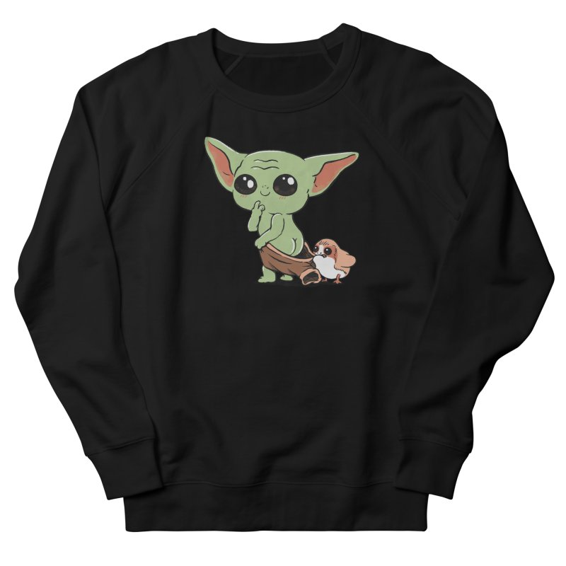Baby Yoda and Porg Men's French Terry Sweatshirt by Pepe Rodríguez