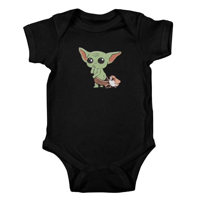 Baby Yoda and Porg Kids Baby Bodysuit by Pepe Rodríguez
