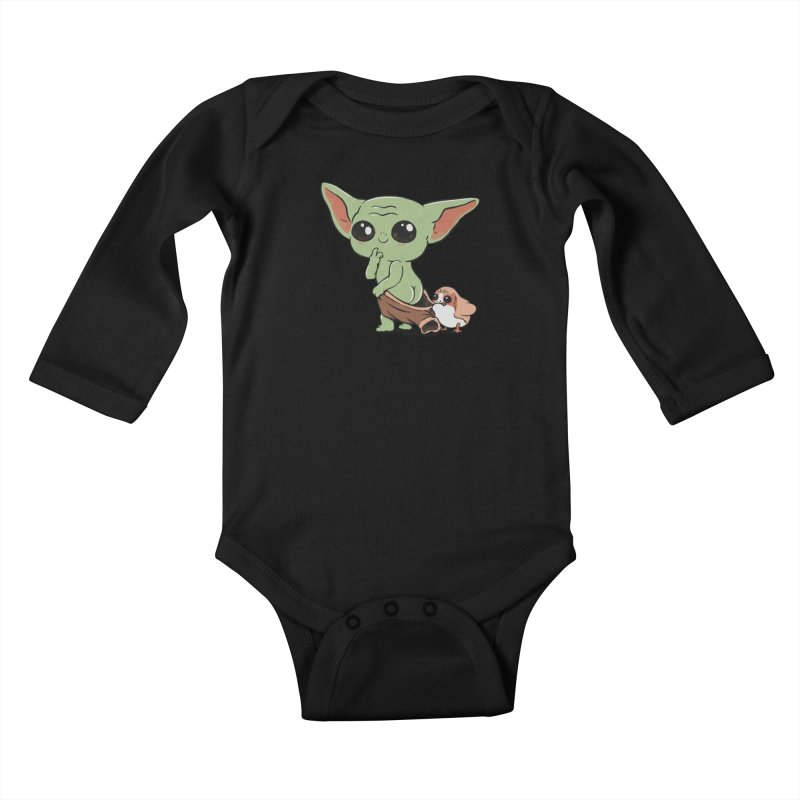 Baby Yoda and Porg Kids Baby Longsleeve Bodysuit by Pepe Rodríguez