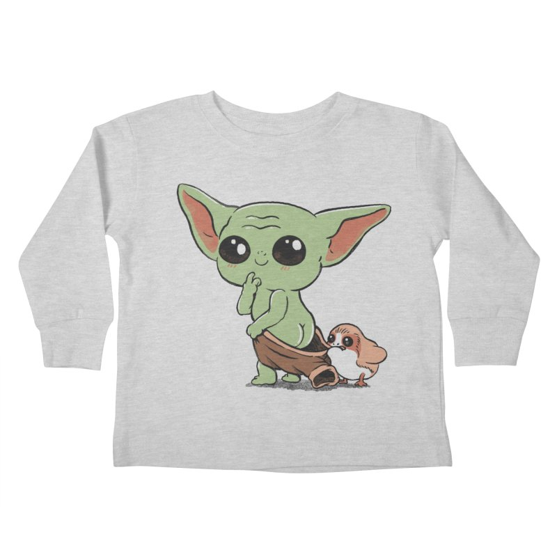 Baby Yoda and Porg Kids Toddler Longsleeve T-Shirt by Pepe Rodríguez