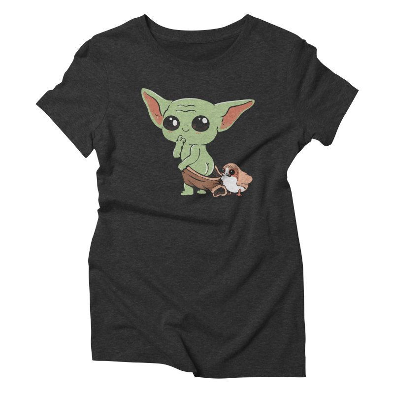 Baby Yoda and Porg Women's Triblend T-Shirt by Pepe Rodríguez