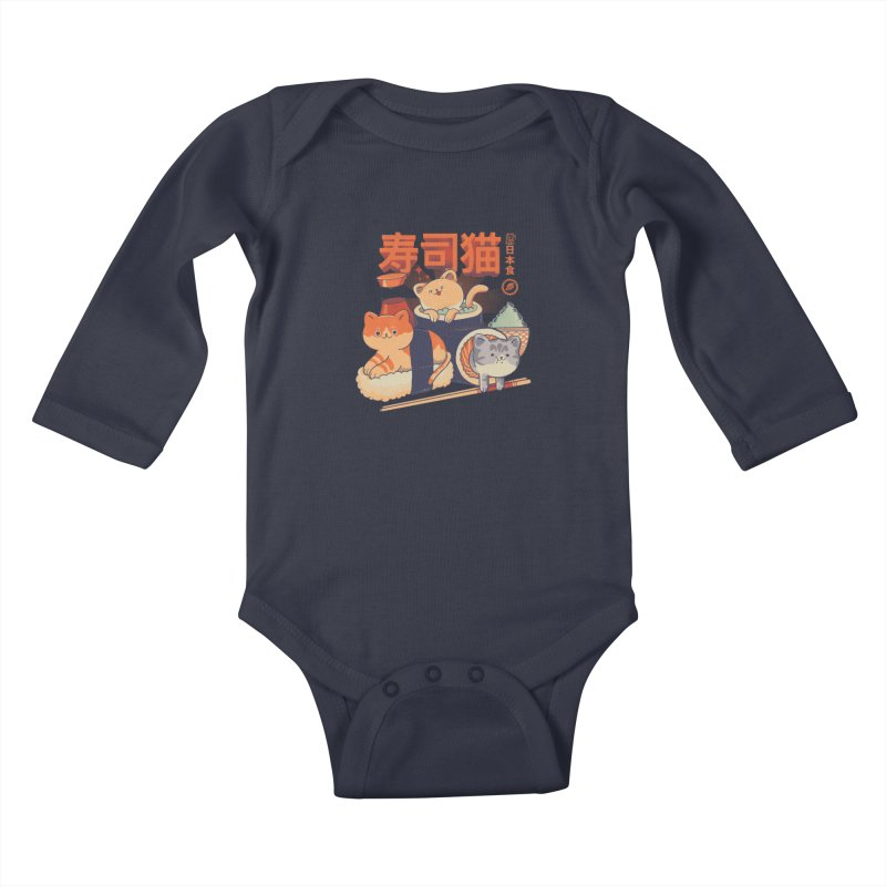 Sushi Cats Kids Baby Longsleeve Bodysuit by Pepe Rodríguez