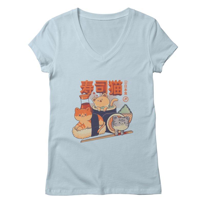 Sushi Cats Women's Regular V-Neck by Pepe Rodríguez