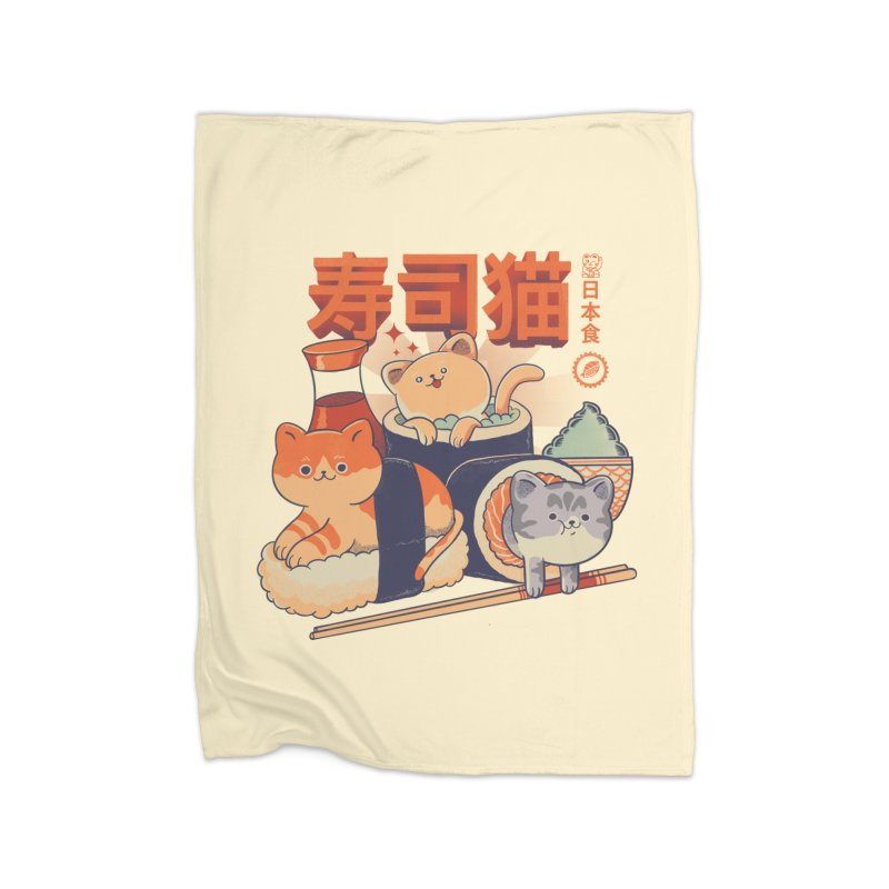 Sushi Cats Home Fleece Blanket Blanket by Pepe Rodríguez