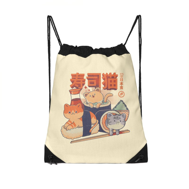Sushi Cats Accessories Drawstring Bag Bag by Pepe Rodríguez