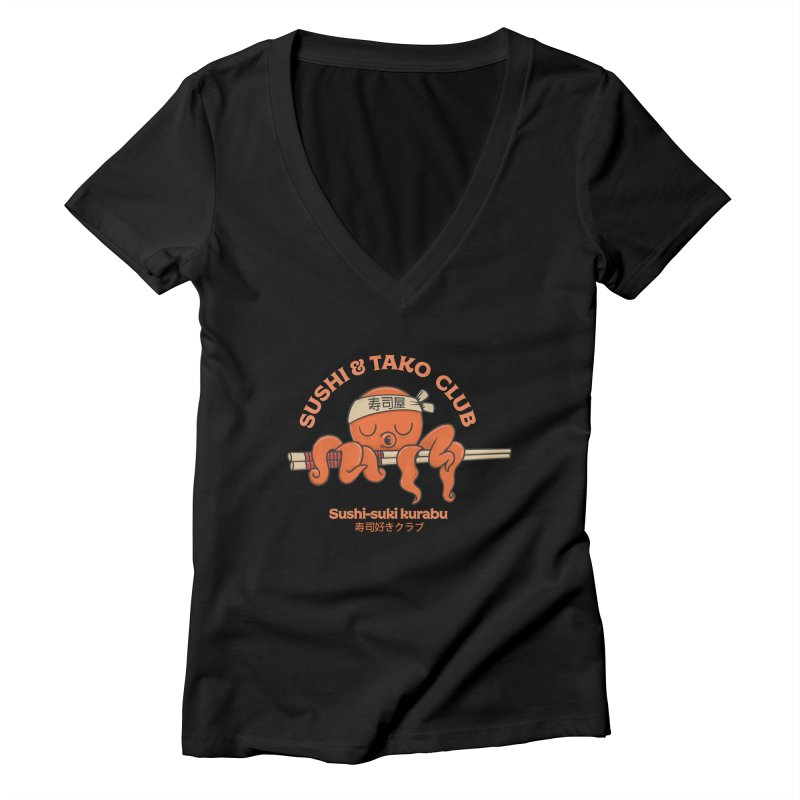 Sushi and Tako Club Women's Deep V-Neck V-Neck by Pepe Rodríguez