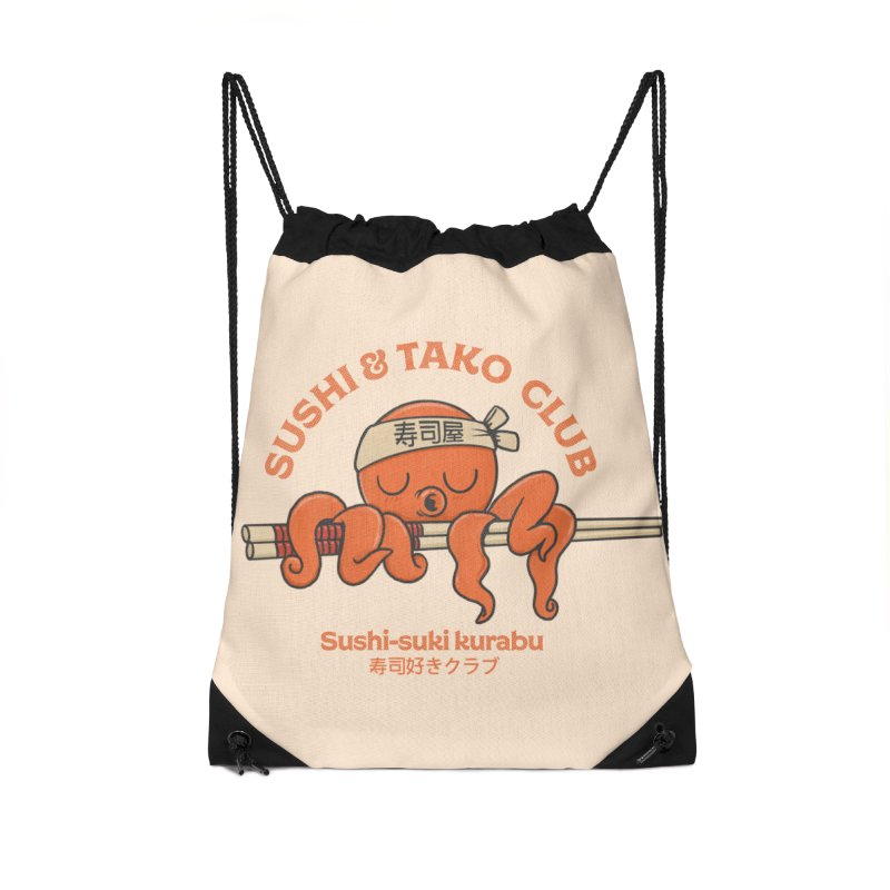 Sushi and Tako Club Accessories Drawstring Bag Bag by Pepe Rodríguez