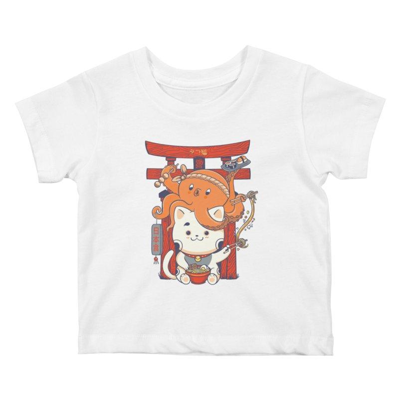 Tako and Neko Restaurant Kids Baby T-Shirt by Pepe Rodríguez
