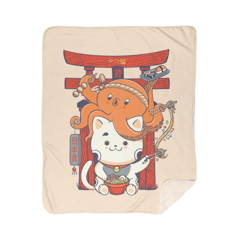 Tako and Neko Restaurant Home Sherpa Blanket Blanket by Pepe Rodríguez
