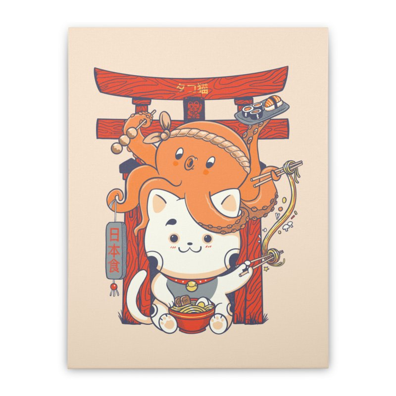 Tako and Neko Restaurant Home Stretched Canvas by Pepe Rodríguez