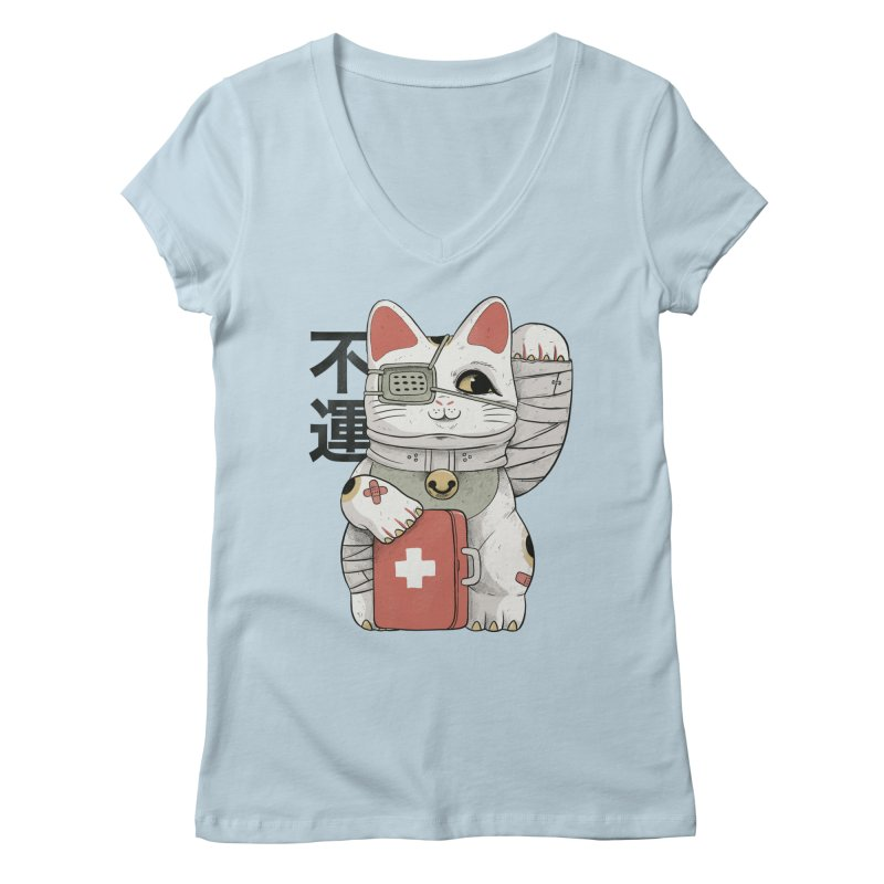 Unlucky white cat Women's V-Neck by Pepe Rodríguez