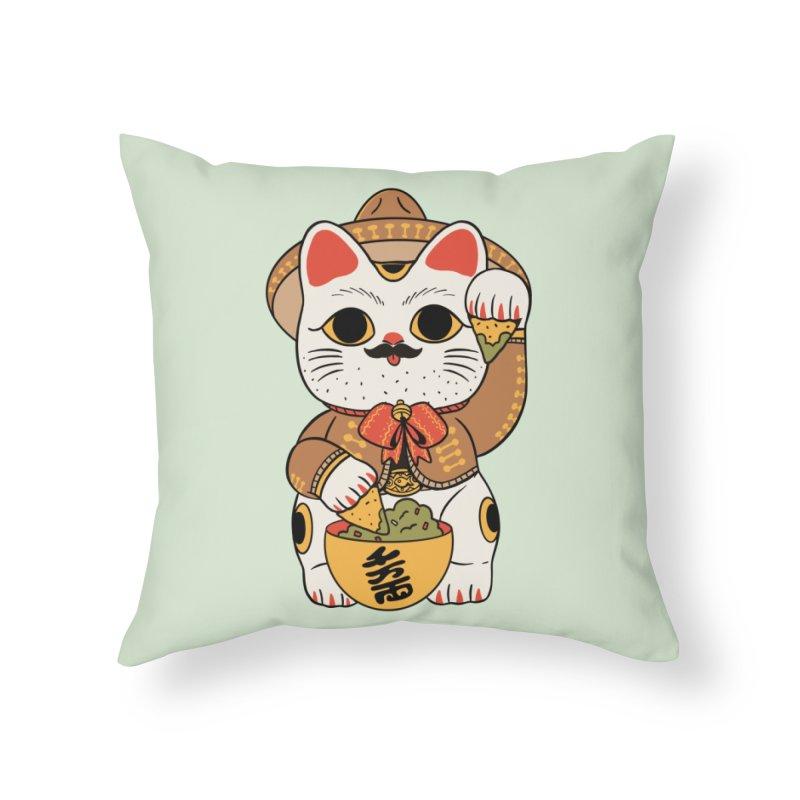 Gato de la suerte Home Throw Pillow by Pepe Rodríguez