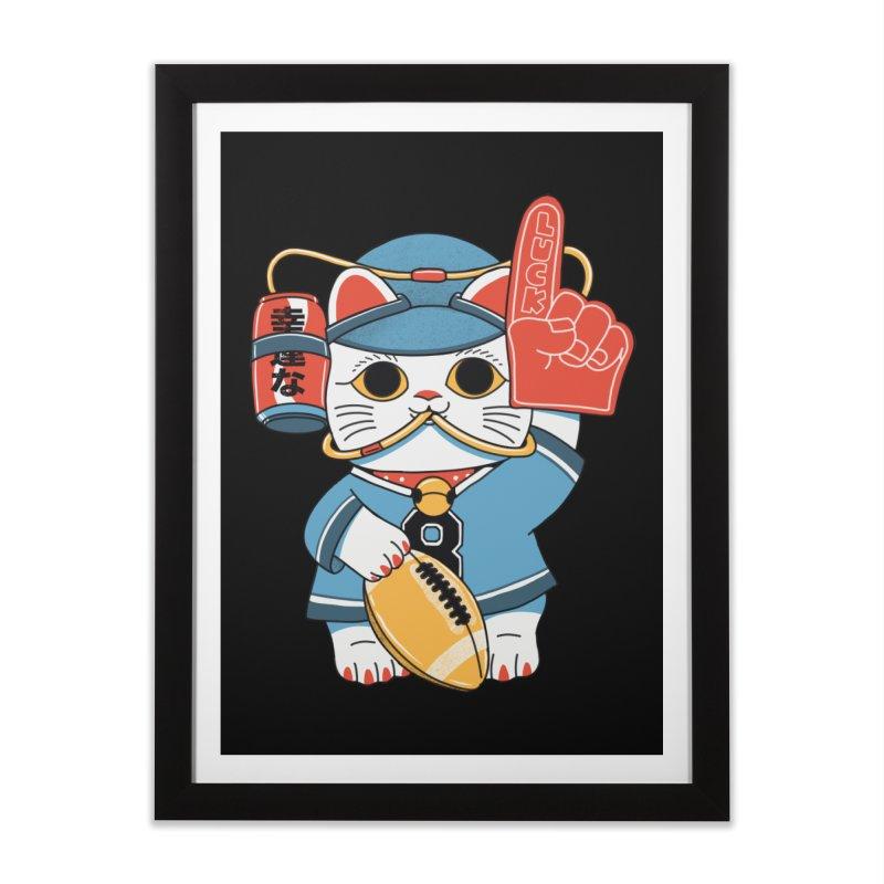 Lucky Cat Fan Football Home Framed Fine Art Print by Pepe Rodríguez