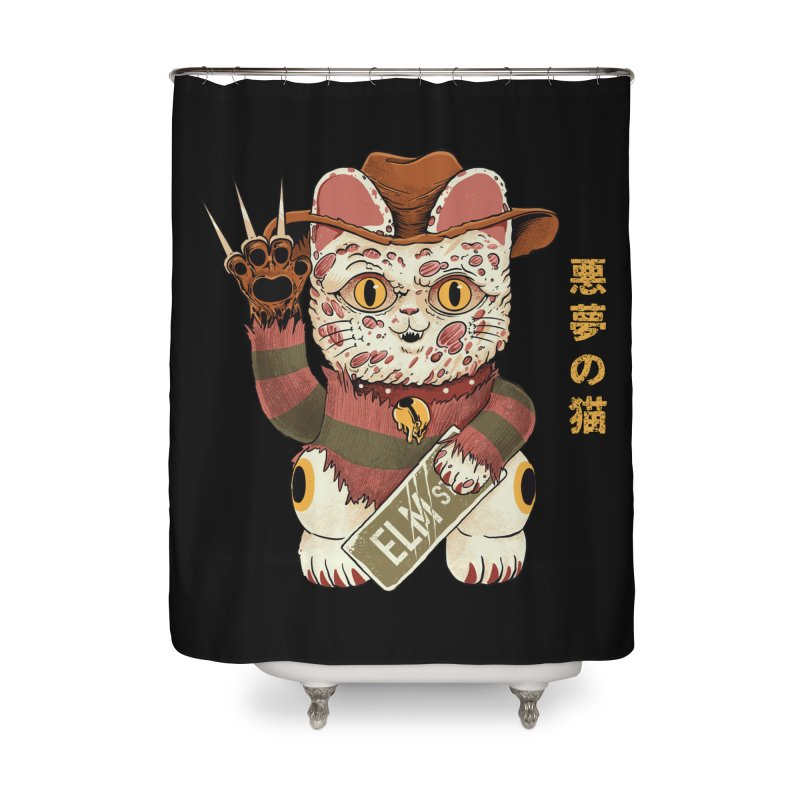 Lucky Nightmare Cat Home Shower Curtain by Pepe Rodríguez