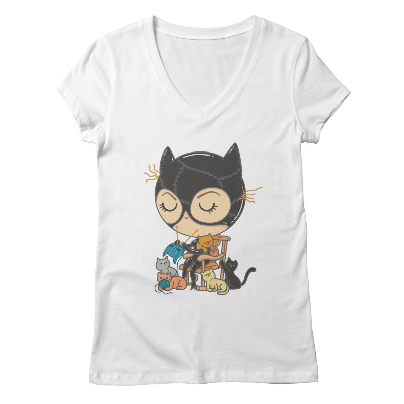 Cat Lady Women's Regular V-Neck by Pepe Rodríguez