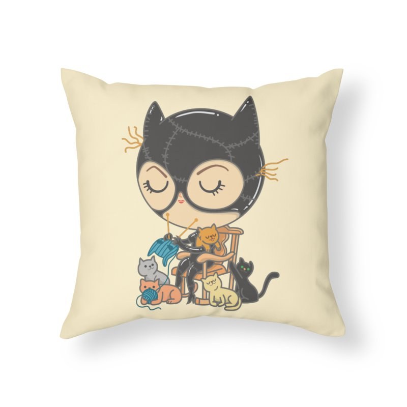 Cat Lady Home Throw Pillow by Pepe Rodríguez