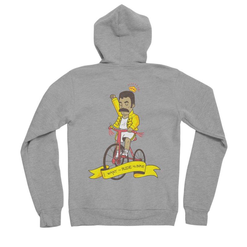 Queen Bike Men's Sponge Fleece Zip-Up Hoody by Pepe Rodríguez